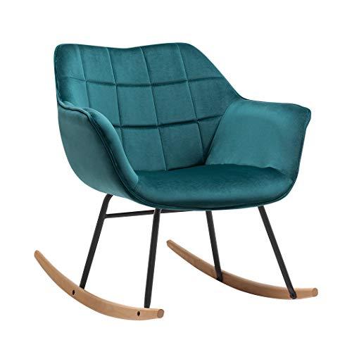 Duhome Chaise à Bascule Tissu Velours Design Retro Fauteuil à Bascule Berceuse Chaise berçante Pieds en Metal et Bois, Couleur:Vert Bleu, matière:Velours