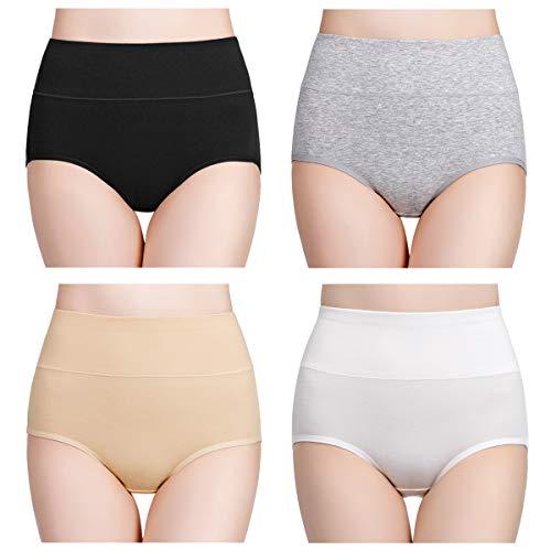 wirarpa Culotte Femme Taille Haute Boxer élastique Coton Slip Confort Shorty Lot de 4...