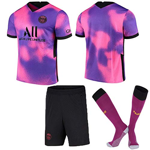 ZJFSL Maillot de Football Paris Away # 7 Mbappé Pink Purple Soccer Jerseys Set T-Shirt et...