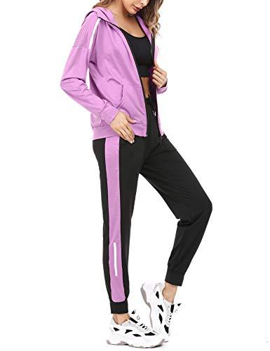 Aibrou Survêtement Femme Deux Pièces Ensembles Sportswear Sweat Zippé à Capuche + Pantalon...