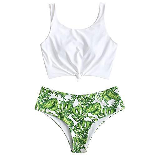ZAFUL Maillot de Bain Deux Pièces Rembourré, Tankini Femme Bikini Grande Taille Plus Imprimé Plante avec Noeud (Couleur B, L(EU 40))