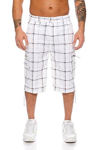 Kendindza Short Homme Pantacourt Bermuda Cargo Loisir Shorts d'été M-4XL (Blanc (330), L)