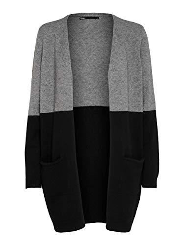 Only ONLQUEEN L/S Long Cardigan KNT Noos Gilet, Mélange de Gris Moyen/Rayures : Noir, XL Femme