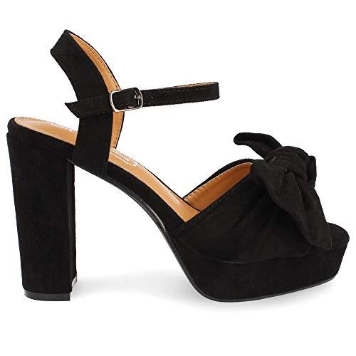shoes&blues.es 35074-Sandales Femme Plataforme et Talon Haute Bout Ouvert Laniere Cheville avec...