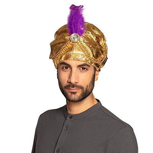 Boland Turban Sultan Selim - 81015 - Doré, perles, plumes, pierres blanches - Bonnet en tissu, taille unique, élastique, carnaval, fête à thème, déguisement, théâtre, accessoire