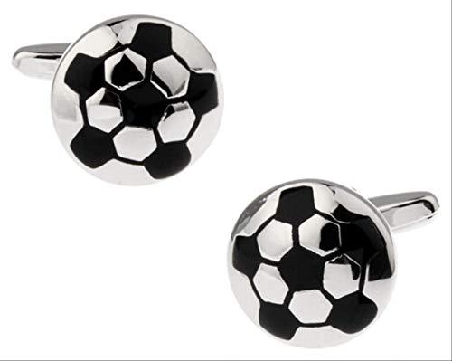 XKSWZD Boutons de manchettee Maillot de Football Argent Couleur cuivre Design Noir de Football...