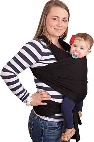 CuddleBug - Echarpe de Portage - Porte Bébé jusqu'à 16kg - Mains Libres - Couverture de Portage Taille Unique - Douce - Flexible - Cadeau Naissance (Noire)