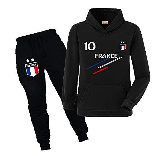 Xpialong Jogging Survêtement De Football France 2 étoiles Enfant Sweat à Capuche avec Poche (Style1,9-10 Ans)