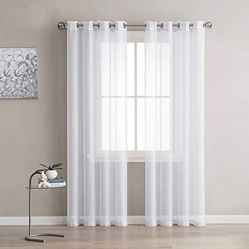 Lot de 2 Rideaux Voilages Blanc, Panneaux de Fenêtres Voile de...