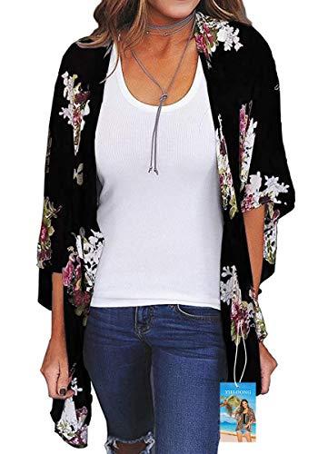 YULOONG Femmes Couverture en Mousseline de Soie imprimé Floral Kimono lâche châle Cardigan Boho été décontracté Blouse Haut Sexy Plage Maillots de Bain Capes