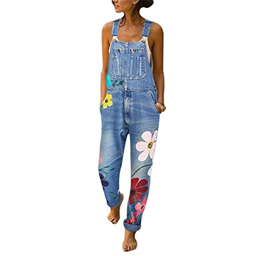 Dihope, Salopette Femme Mode Fleur Imprimé Jeans à Bretelles Pantalon de Travail en Denim...