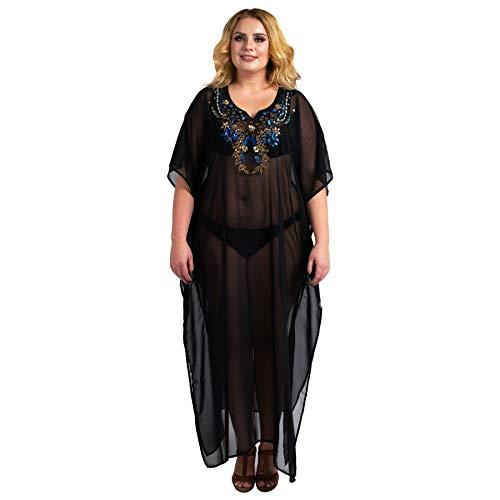 Miss Lavish London Caftan Main Brodé Caftan Plage Couverture Ups Kimono Été Maxi Robes...