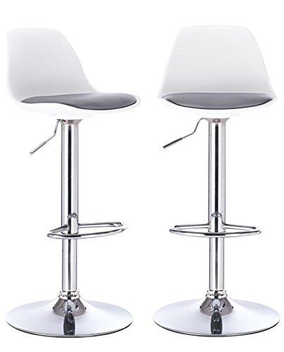 KAYELLES tabourets de Bar Cuisine Design SIG - Lot de 2 chaises de Bar réglable (Blanc - Gris)