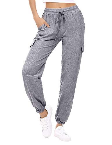 Doaraha Pantalon Jogging Femme en Coton Large avec 4 Poches Léger Confortable et Agréable à...