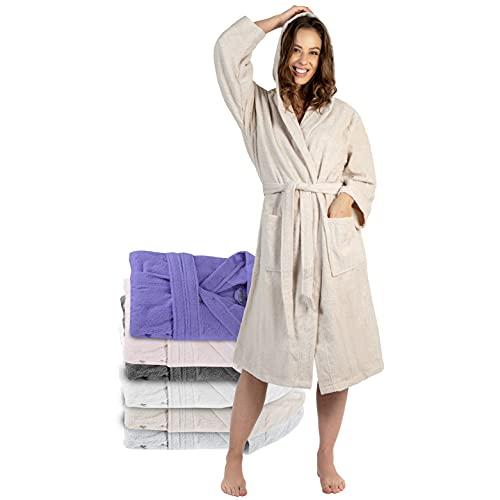 Twinzen Peignoir de Bain Femme - M - Beige - 100% Coton avec Capuche - Certifié OEKO-TEX® - Robe de Chambre Eponge 2 Poches, Ceinture - Doux, Absorbant et Confort
