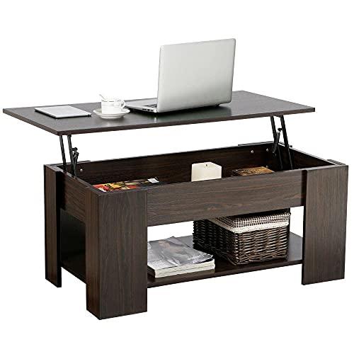 Yaheetech Table Basse avec Plateau Relevable Compartiment Caché...