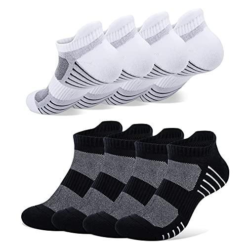 PAUNEW Chaussettes Femmes Hommes bas en Coton 8 Paires Chaussette de Tennis Anti-transpiration Noir Blanc 39-42