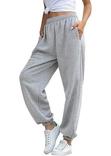 heekpek Pantalon Jogging Femme en Coton Pantalon Jogging Femme Chic Élastique Taille Haute avec Poche Pantalon de Training Sport Yoga et Fitness
