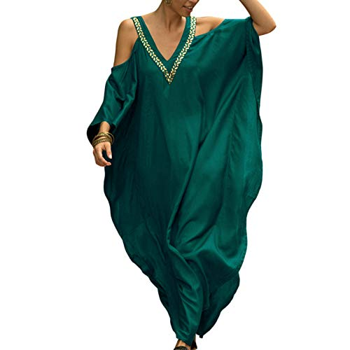 Caftan Femme Robe de Plage Longue d'été Col V Cover Up pour Bikini Couleur Solide, vert, Taille Unique