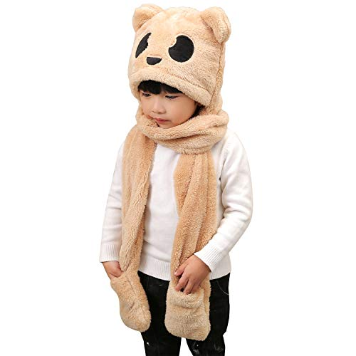 Enfant Fille Garçon Chapeau Chapka Thermique Doux 3 en 1 Bonnet Echarpe Moufles Epais Chaud Foulard Gants en Peluche Hiver Automne Motif Panda Mignon Tour de Cou Extérieur Cadeau d'anniversaire Noël