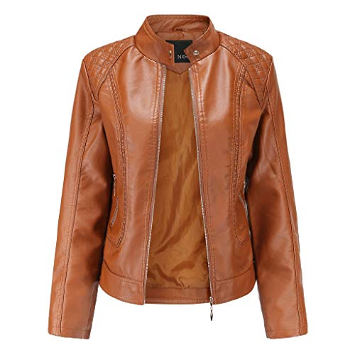Skang Veste en Cuir, Femme Pas Cher Grande Taille Motard Blouson Court Leather Manteau