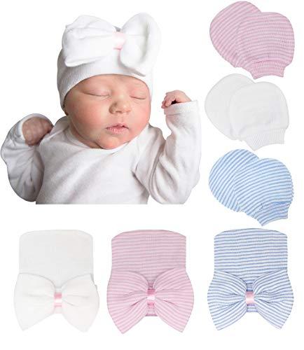 DRESHOW Bonnets de Naissance et Moufles de Protection Coton - 3 Pcs Bonnets Coordonnés et 3 Paires Mitaines Scratch de Protection Enfant Bébé Fille Garçon (0-3 Mois)