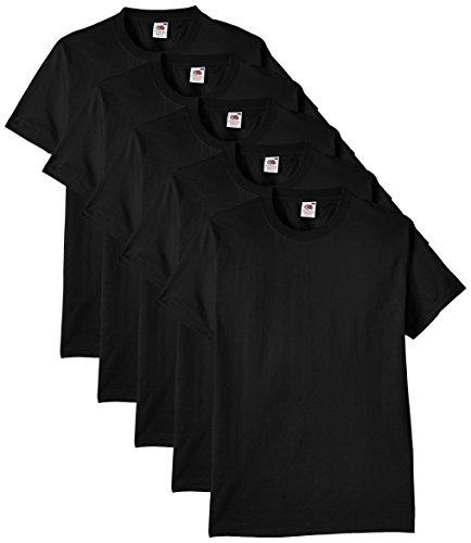Fruit of the Loom - 61-212 - T-shirt (Lot de 5) - Homme - Noir - Taille: L