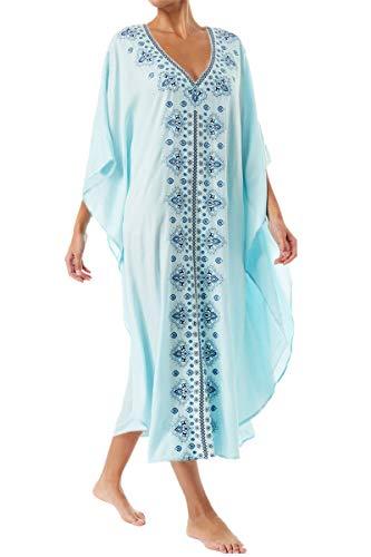 L-Peach Femme Été Coton Broderie Florale Longue Kaftan Robe Paréo de Plage pour Maillot de Bain, Bleu, Taille unique