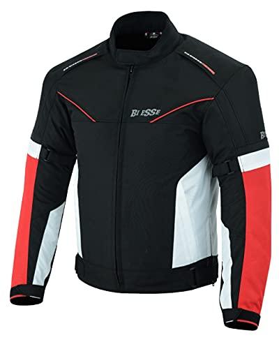 BI ESSE Veste Veste en tissu pour moto, scooter, voyage, ventilé (rouge, XS)