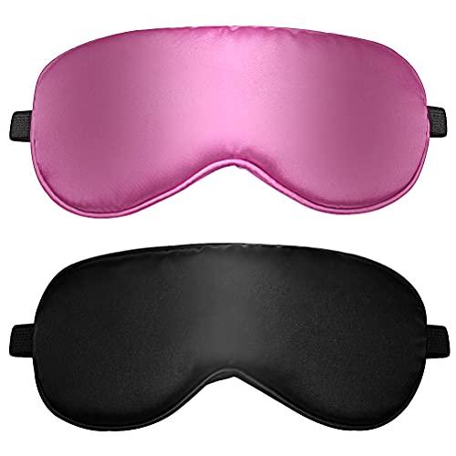 2 pcs Masque de Sommeil, Masque de Nuit en Soie Ultra-Douce Masque des Yeux Sommeil Masque pour Dormir Anti-lumière avec Sangle Élastique Réglable prix et achat