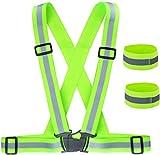 ZWOOS Gilet de Sécurité + Bracelets de Sécurité Réfléchissant, Réfléchissant Réglable Elastique Gilet de Sécurité pour La Course, Le Vélo, La Moto
