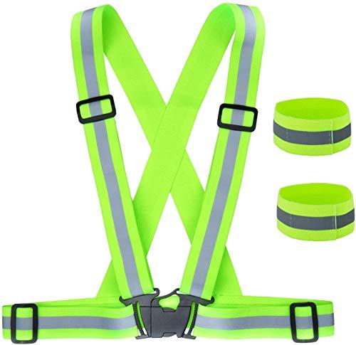 ZWOOS Gilet de Sécurité + Bracelets de Sécurité Réfléchissant, Réfléchissant Réglable Elastique Gilet de Sécurité pour La Course, Le Vélo, La Moto (1 x Gilet + 2 x Brassards)