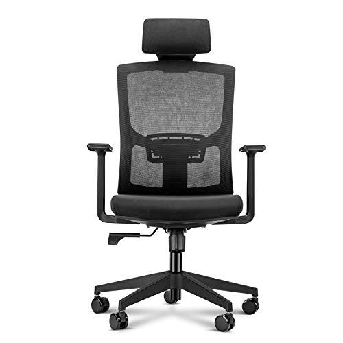 Chaise de bureau ergonomique avec accoudoirs réglables, appuie-tête, soutien lombaire et dossier Noir