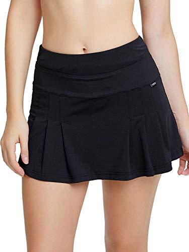siyecaoo Jupe de Tennis pour Femmes Mini avec Poches Jupe plissée pour Courir Tennis pour Golf Randonnée Badminton Shorts Noir XXS