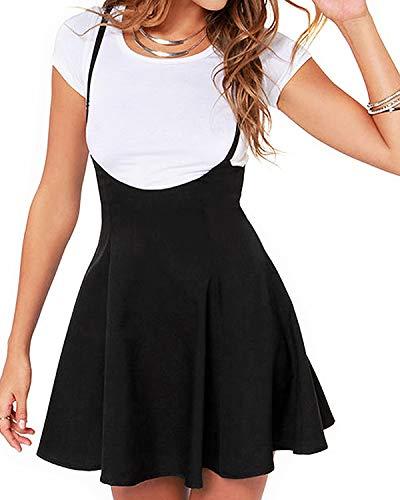 YOINS Femme Skirt Jupe Plissée Jupe Patineuse Taille Haute Chic Été Mini Jupe à Bretelles Zippée Bas, Noir, M