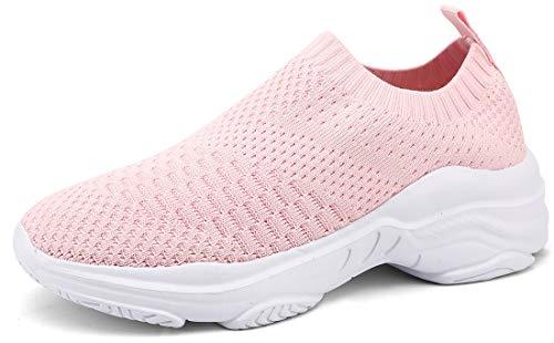 ZUSERIS Baskets Chaussures de Course pour Femme Chaussures de Running Sport Sneakers Fitness Tennis Légère Respirantes Rose 38