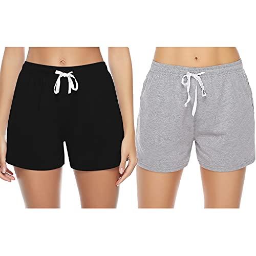 Sykooria Short de Sport Femme Pantalon Court avec Bande Blanche Été pour Fitness Jogging Gym...