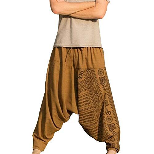 Sarouel Hommes,ITISME Harem Pantalons Coton Longs Imprimés Rétro Baggy Hippie HommesTaille...