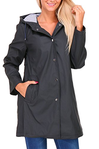 Zelia - 41604F - Manteau Imperméable ciré Femme,Noir,XX-Large - Taille FR : 44