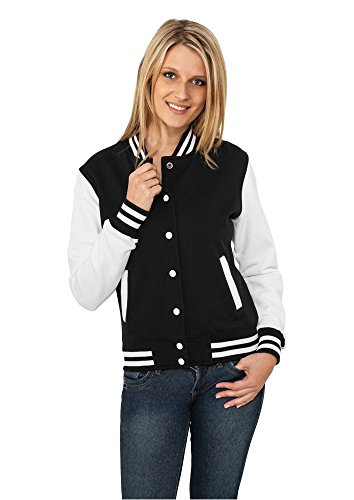 Urban Classics Ladies 2-Tone College Sweatjacket Sweat-Shirt, Multicolore (Blk/WHT), (Taille Fabricant: Large) Femme