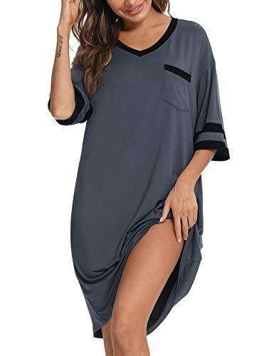 Abollria Chemise de Nuit Pyjama Confortable Robe de Nuit pour Femmes en Modal Ample pour la...