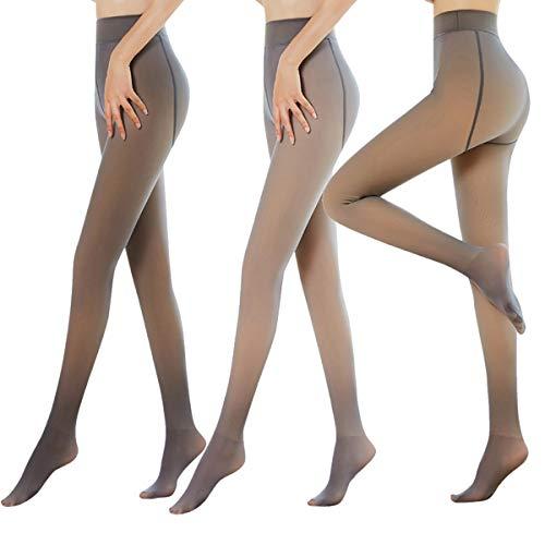 TZJ 2 Paires De Leggings d'hiver Thermiques, Faux Molleton Chaud Translucide Jambes Impeccables Collants Femmes Chaud Doublé Polaire Mince Collants Extensibles Pantalon (2X Black,220g)