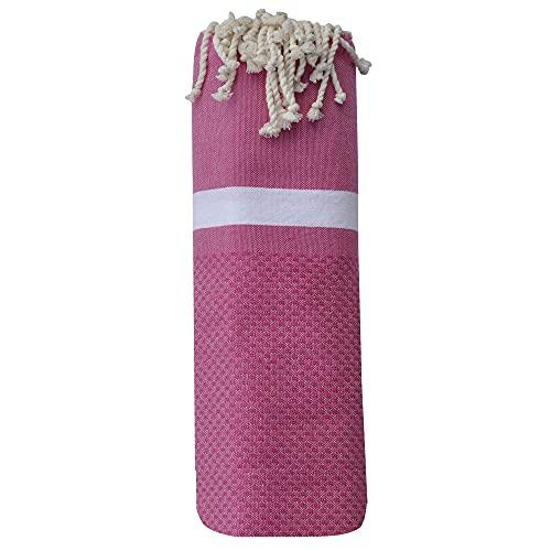LES POULETTES Fouta Drap Plage et Hammam Coton Nid d'abeille avec Bande Blanche 100 x 200cm - Fuchsia prix et achat