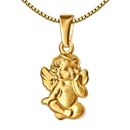 CLEVER SCHMUCK Ensemble pendentif en or 12 mm en forme d'ange en tailleur satiné mat classique baroque 333 8 carats avec chaîne vénitienne plaquée or 45 cm