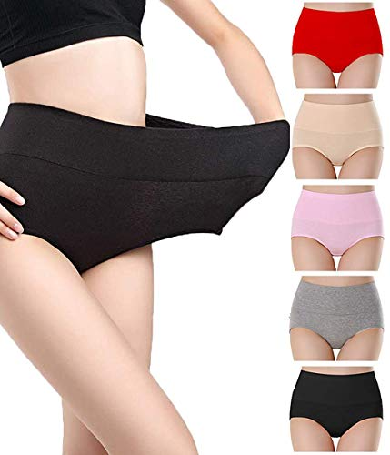 NINGMI Culotte Femme Coton Stretch Slips Taille Haute Ventre Plat sous-vêtements Doux Culotte Gainante Lot de 5-5 Couleur - Taille XL