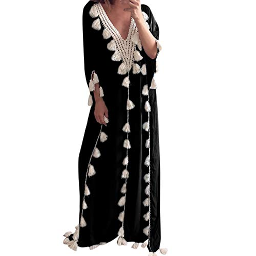 ZEZKT Robe Bohème Femme Robe de Gland Loose Robes de Plage Chic Robe à 3/4 Manches d'Été...