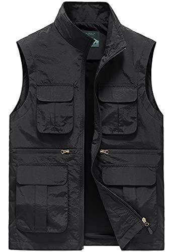 Panegy Gilet de Pêche Multi-poches Homme Veste Cargo Manteau Sans Manches Plein Air Gilet de Travail Reporter Journaliste Randonnée Noir Étiquette XL(EU S) prix et achat