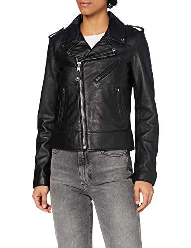 Schott Nyc Lcw1601D - Veste en cuir - Col châle - Manches longues - Femme - Noir (Black) - FR: 42 (Taille fabricant: XL)