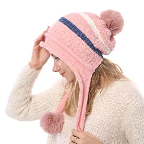 TENDYCOCO Bonnet en tricot avec chapeau péruvien pom pom bonnet oreille hiver chapeaux pour...