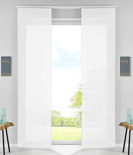Lot de 2 Rideaux coulissants avec Tringle de lestage Blanc H 245 x 60 cm